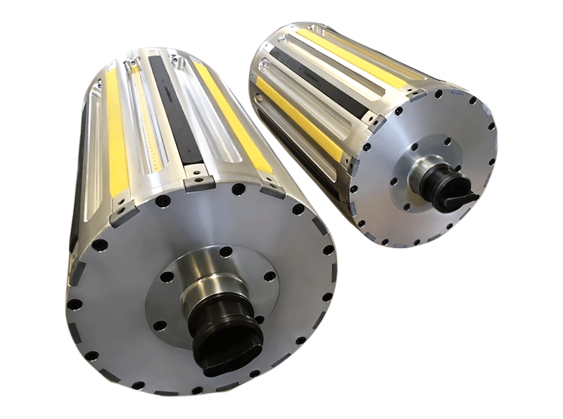 "our version of air shaft for 12"" cores featuring 6 centring strips and 6 clamping rubber strips"