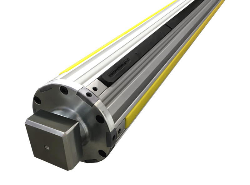 air shaft with 148 mm body diameter equipped with 3 centring strips in nylon and 3 clamping strips in rubber