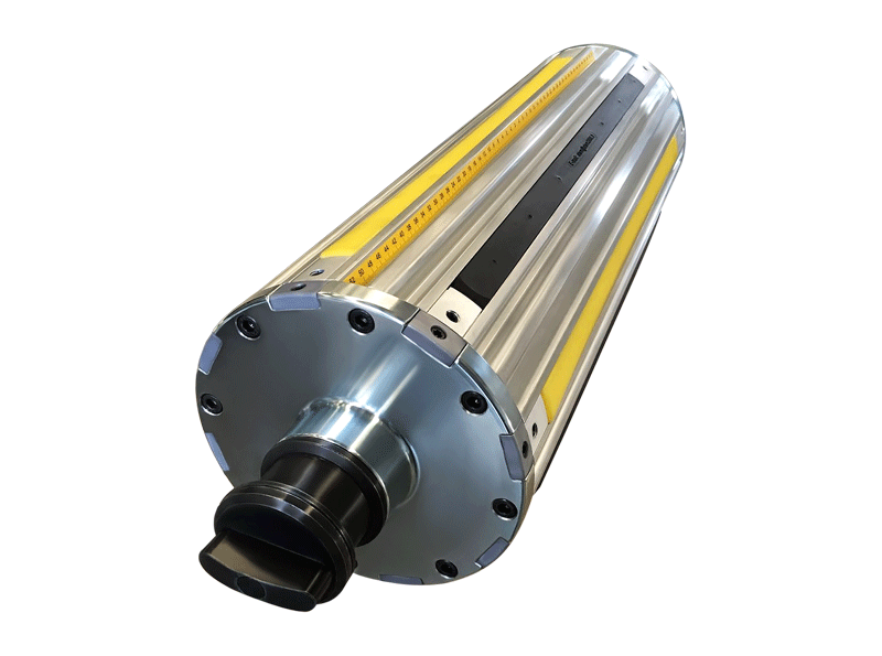"our version of air shaft for 8"" cores featuring 4 centring strips and 4 clamping rubber strips"