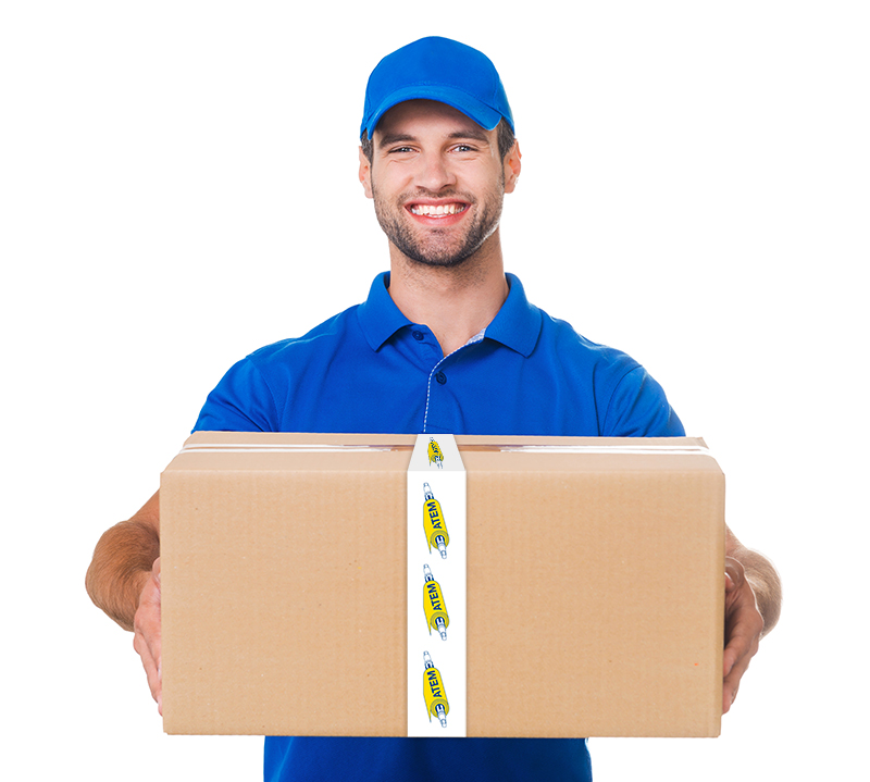 delivery guy delivering box containing shaft spare parts